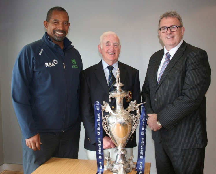President of the Northern Cricket Union, Billy Boyd, at the draw for the quarter finals of the Ulster Bank Senior Challenge Cup which was made by Ireland's national coach Phil Simmons and Stephen Cruise of Ulster Bank. © John Boomer