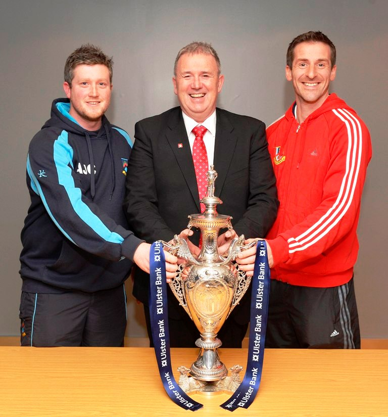Andrew Cowden & James Kennedy with Stephen Cruise from Ulster Bank ©Rowland White / PressEye