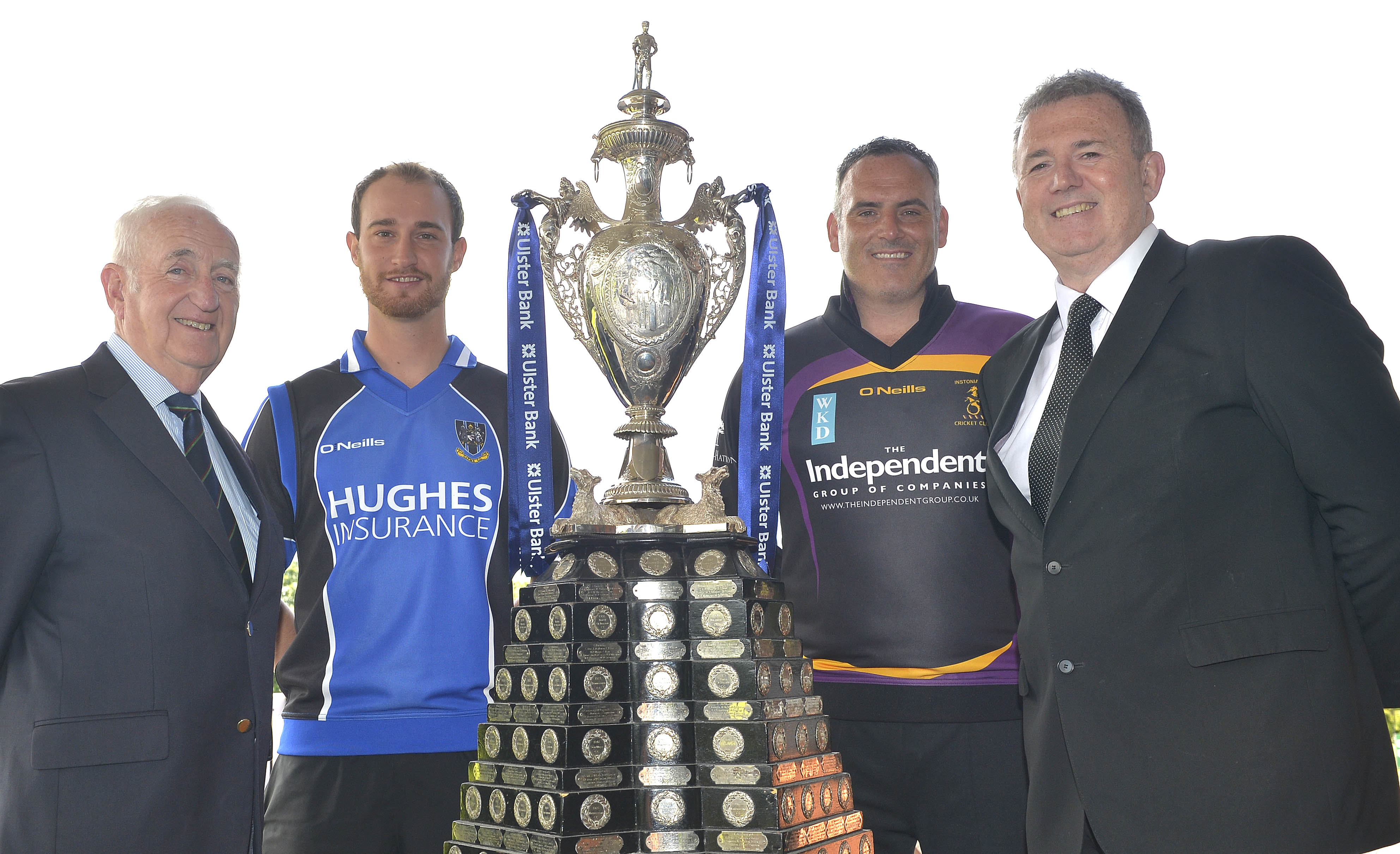 Billy Boyd, President of the NCU, Chris Dougherty, captain of CIYMS, Neil Russell, captain of Instonians, and Stephen Cruise of Ulster Bank (© Rowland White)