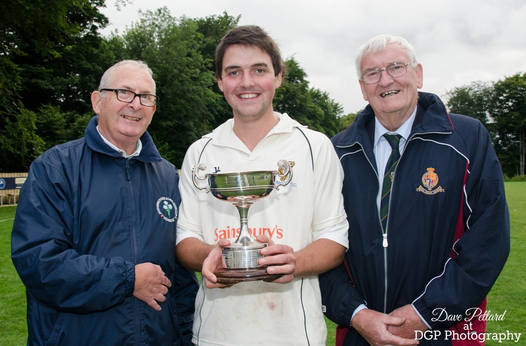 Armagh CC captain Matthew Brownlee with Norman Craig from Muckamore CC and Armagh CC president Norman Graham (photo © Dave Pettard Photography)