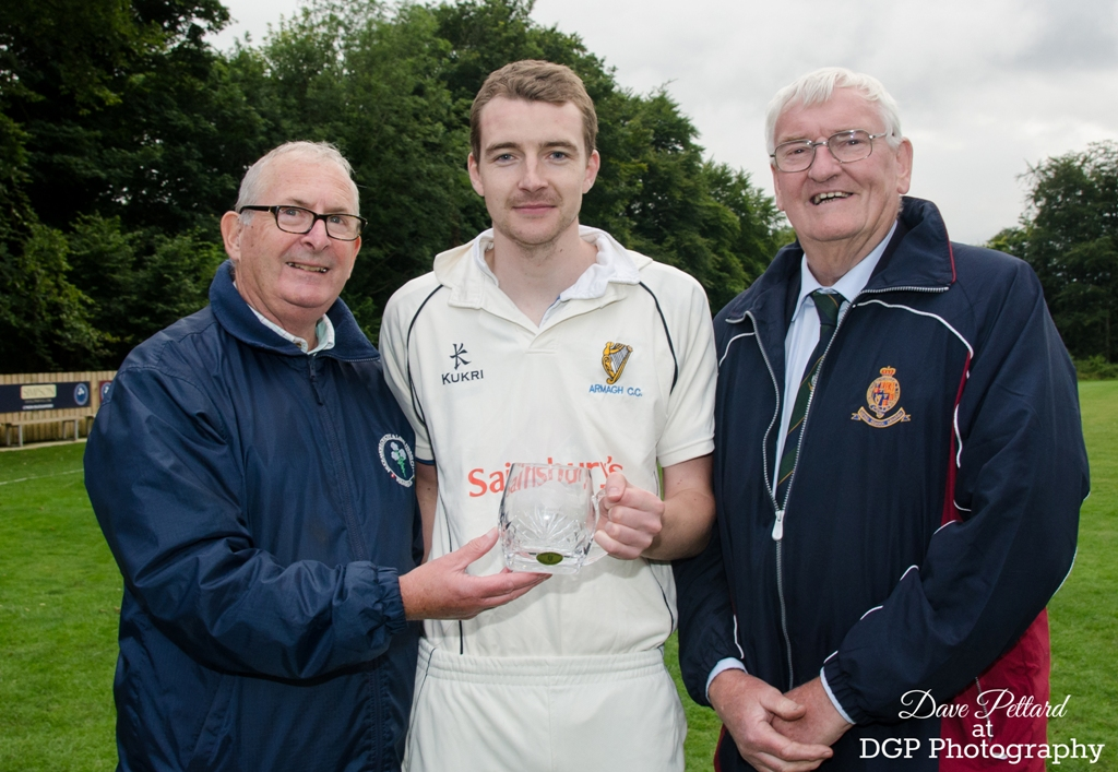 Man of the Match Michael Villiers pictured with Norman Craig from Muckamore CC and Armagh CC president Norman Graham (photo © Dave Pettard Photography)