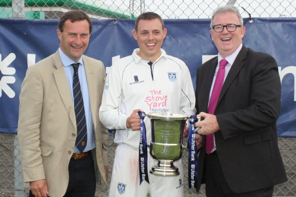 Iain Parkhill receivea the Section 1 trophy from Stephen Cruise of Ulster Bank and NCU President elect Peter McMorran
