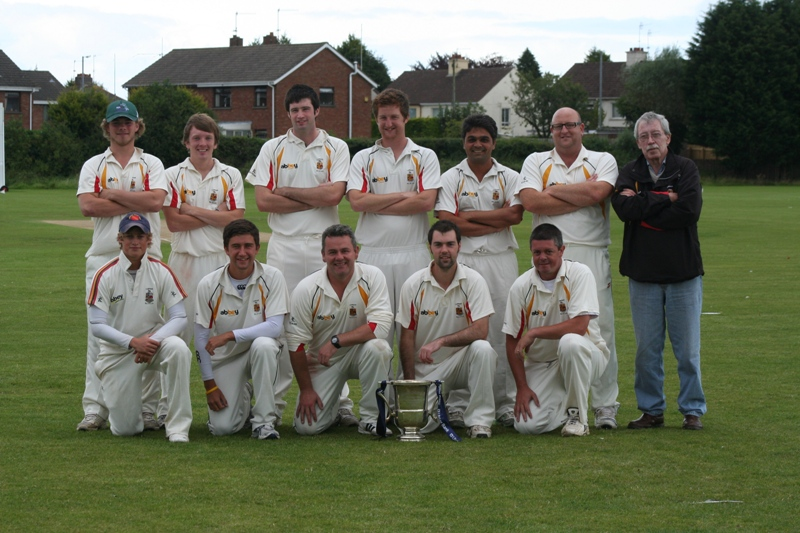 Lurgan 1st XI with the Ulster Bank League Section One Trophy