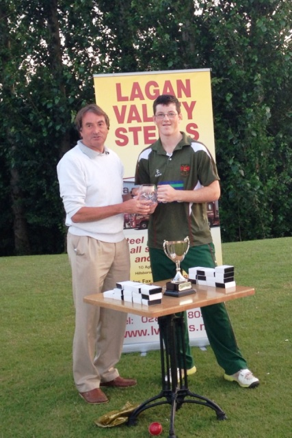 Ryan Smyth receives his Man of the Match award from NCU President Chris Harte