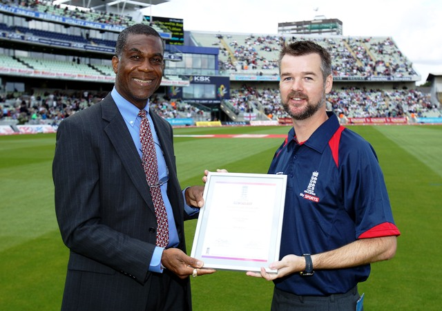 Cricket Ireland's Andy McCrea receives his ECB Sky Sports Coach Award from Sky Sports presenter and West Indies fast bowling legend Michael Holding