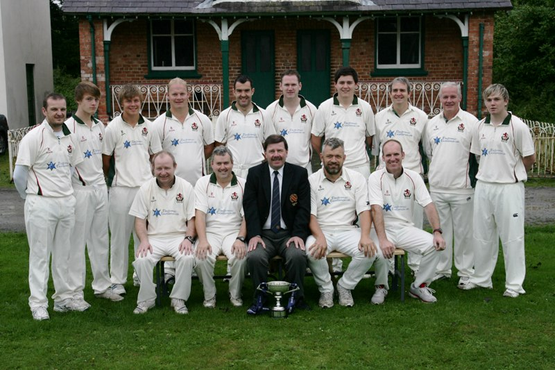 Donaghcloney 1st XI - Winners of Ulster Bank Section 2 - with NCU Chairman Roger Bell