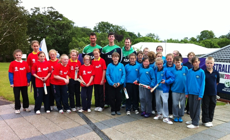 Ireland Cricketers Max Sorensen, George Dockrell and Alex Cusack with some of the participants from Newbuildings and Artigarvan Primary Schools