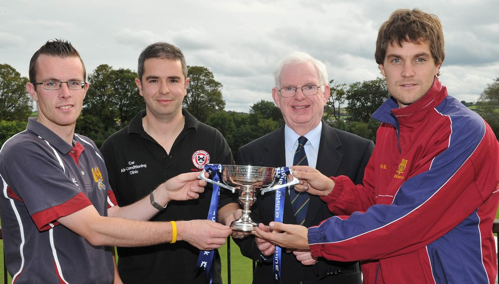 David Sinton, Ricky Greer and Mark Shields receive the Section 2 trophy from NCU President Murray Power