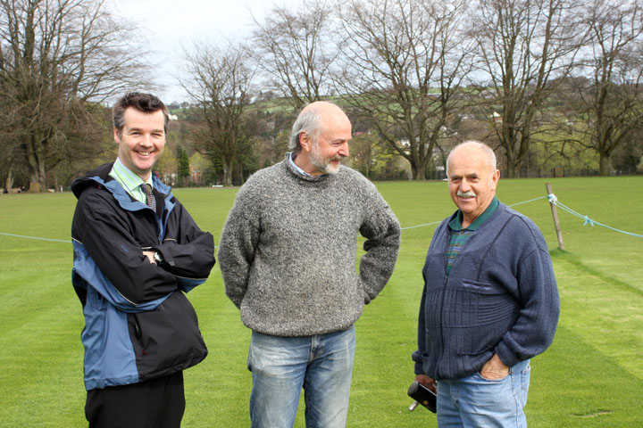Tom Flintoft at Campbell College with Andy McCrea and groundsman inspecting their 5 relaid pitches.