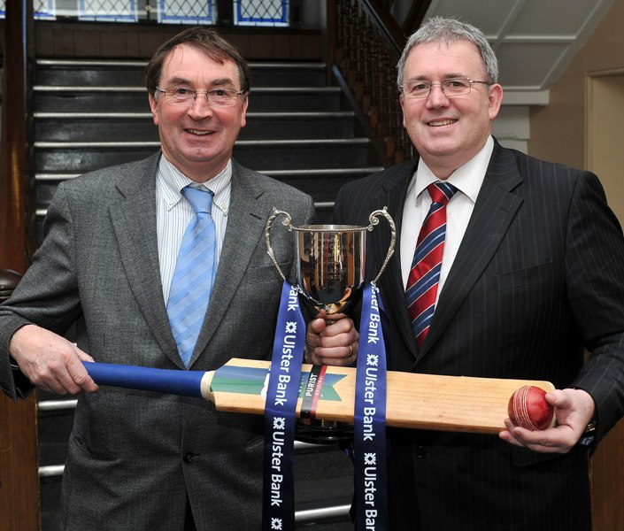 Chris Harte (left), President of the NCU, and Ulster Bank executive, Stephen Cruise, at the draw for the first round of the Ulster Bank Schools Cup