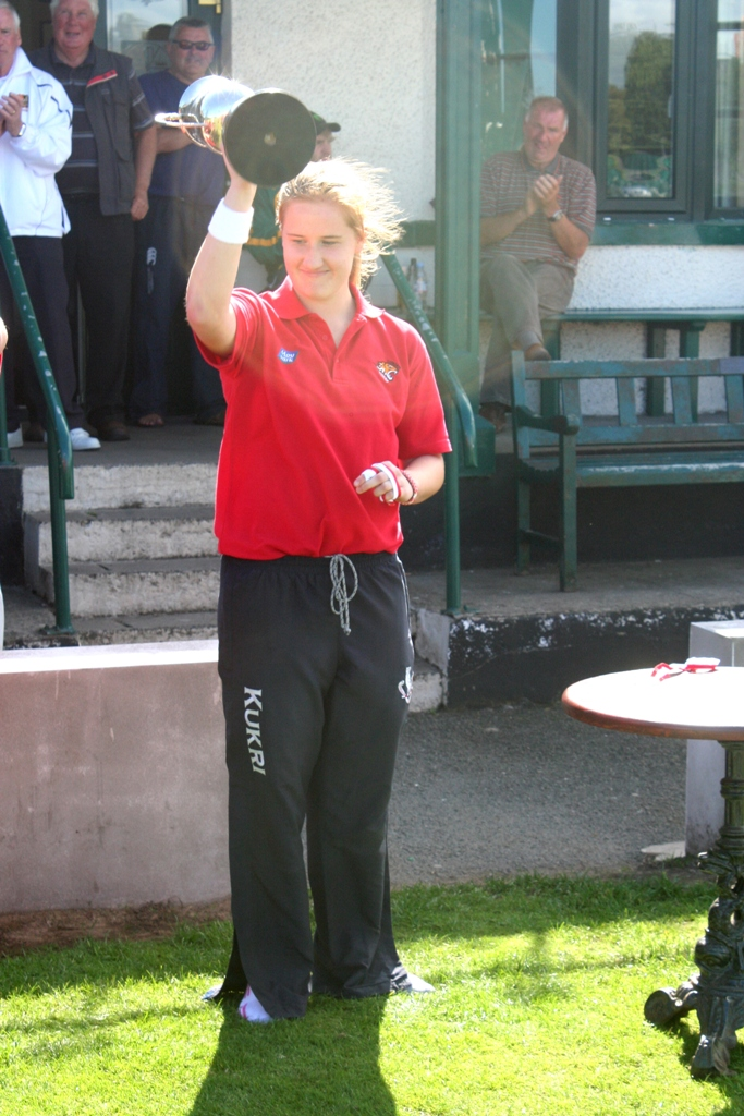Lurgan captain Hannah Grieve lifts the NCU Women's Premier League Trophy