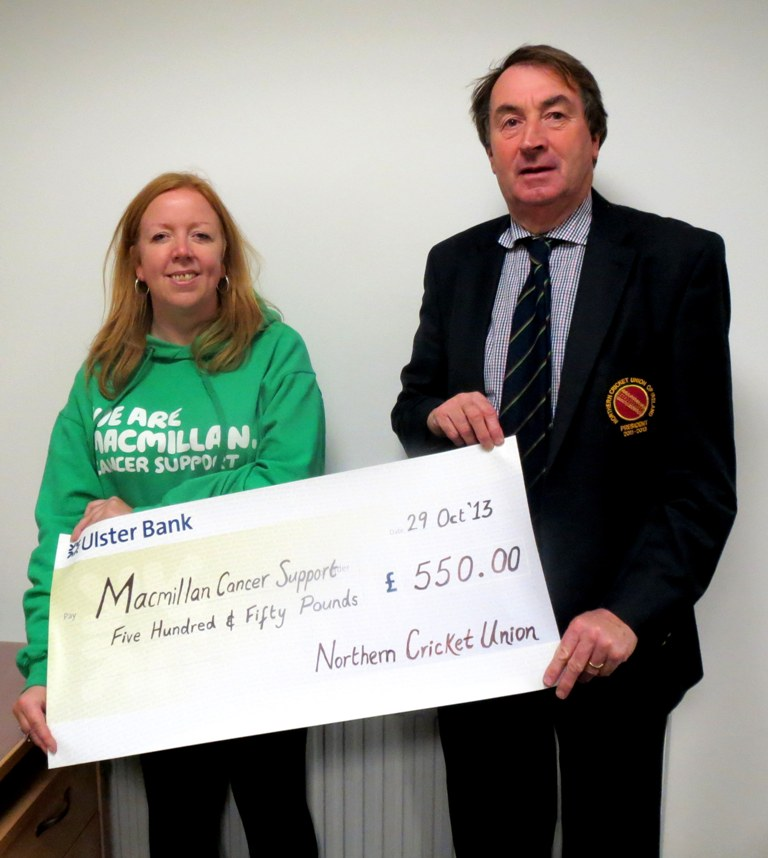 Northern Cricket Union present Macmillan with charity collection cheque