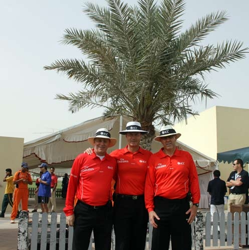 Mark with umpiring colleagues at the Womens World Cup in India