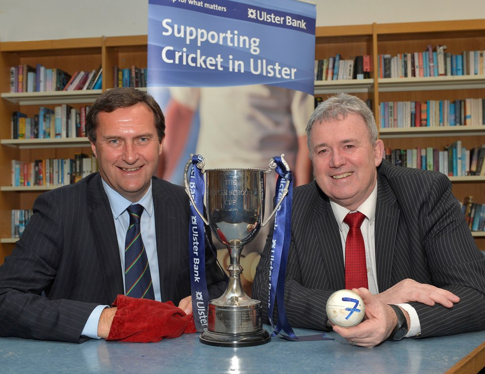 Peter McMorran, President of the Northern Cricket Union (left) and Stephen Cruise of Ulster Bank make the draws for this season's Ulster Bank Schools Cups. (© Rowland White / PressEye)